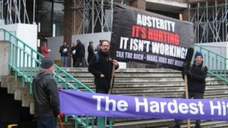 Protesters outside County Hall, Norwich, demonstrating against the 2012/13 Norfolk County Council budget