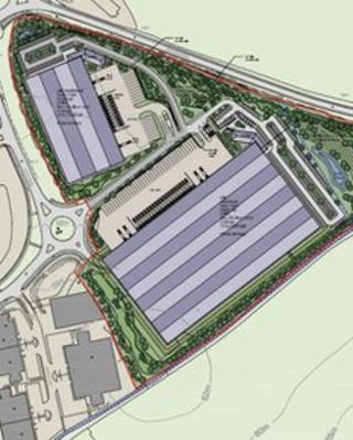 An overhead view of the plans at Brackmills Industrial Estate