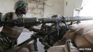 African Union soldier south of Mogadishu, 14 Feb 2012