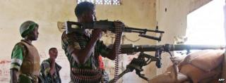 African Union peace keeping force and Somali government forces near Mogadishu