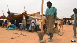 Malian refugee camp in Chinegodar, western Niger, close to the Malian border, on 4 February 2012