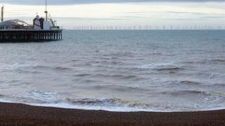Computer image of wind farm off Brighton