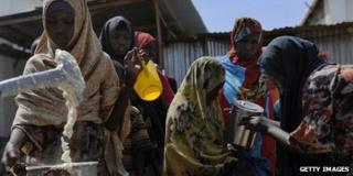 Displaced people at a camp in Somalia