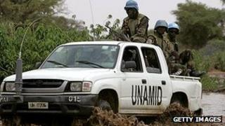 Unamid peacekeepers in Darfur (file image)