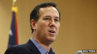 Rick Santorum speaks during a Tea Party Rally in Columbus, Ohio 18 February 2012