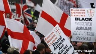 Banners and flags at EDL demo