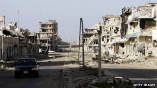 Destroyed buildings in Sirte