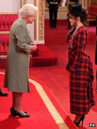Helena Bonham Carter with the Queen