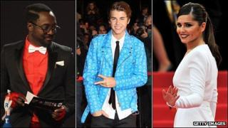Will.i.am, Justin Bieber and Cheryl Cole