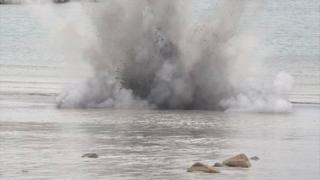 Detonation of a World War II anti-tank mine on Pembroke Bay by Guernsey Police's bomb disposal team