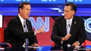 Rick Santorum and Mitt Romney - 22 February
