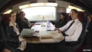 Nicolas Sarkozy (R), Rachida Dati (2nd R) and others en route to Lille, 23 February