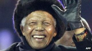Nelson Mandela at the 2010 World Cup football final in Soweto (July 2010)