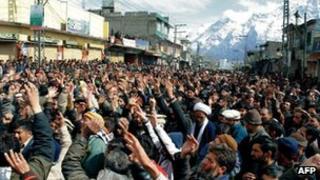 Shia Muslims condemn the killings in Skurdu, Pakistan