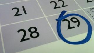 Calendar page with the 29th circled