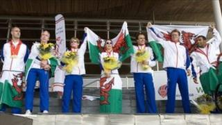 Welsh Paralympians being welcomed home after the 2008 Beijing Games