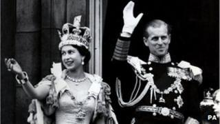 Queen Elizabeth II and the Duke of Edinburgh following her coronation in 1953