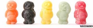 Happy and sad jellybabies