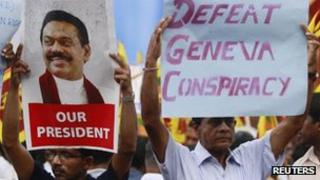 Supporters of President Rajapaksa in February 2012
