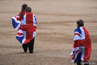 Children wrapped in union jack flag