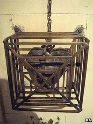 The iron container holding the preserved heart in Christ Church Cathedral, Dublin.