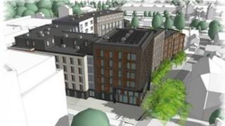 An artist's impression of the buildings to be built on St John's car park.