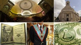 Clockwise from top left: Egyptian room inside Freemasons' Hall, London; facade of the same; Benjamin Franklin on US note; detail of worshipful master; Masonic founding constitution (images courtesy of Thinkstock and Getty images)