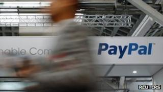 A PayPal banner at the Mobile World Congress in Barcelona 28 February 2012