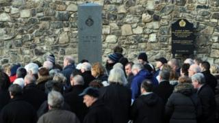 A memorial stone was dedicated to the soldiers' memory in the town centre