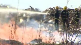 Wood recycling plant fire