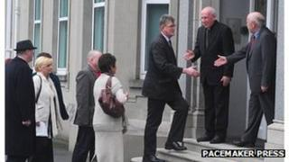Cardinal Brady welcomes the group in Armagh on Monday