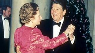 Margaret Thatcher and Ronald Reagan in 1988