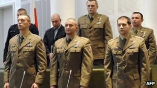 Seven Polish soldiers in court in Warsaw (14 March 2012)