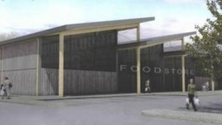 Sketch of food store for Yeovil Town grounds