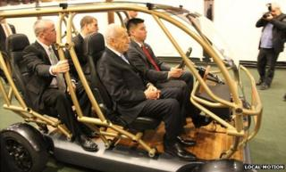 Israeli President Shimon Peres on board Local Motion's vehicle