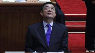 China's Chongqing Municipality Communist Party Secretary Bo Xilai looks up as he attends the closing ceremony of the Chinese People's Political Consultative Conference (CPPCC) at the Great Hall of the People in Beijing 13 March, 2012