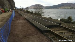 First batch of rubber HoldFast on rails at Stromeferry. Pic: Highland Council