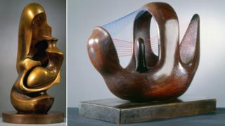 Two of the Henry Moore sculptures on display at the Kremlin. Working Model for Mother and Child: Hood 1982 (l) and Bird Basket 1939 (r). Reproduced by permission of The Henry Moore Foundation