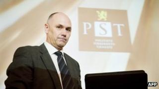 Roger Berg, head of Norway's PST domestic intelligence agency, briefing reporters in Oslo, 16 March
