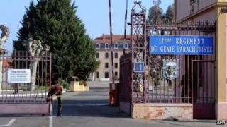 Entrance to the barracks in Montauban, where the soldiers were based