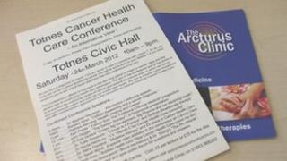 Leaflet advertising Totnes Cancer Care conference in Totnes