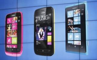 Nokia phones on show at the Mobile World Congress in Barcelona