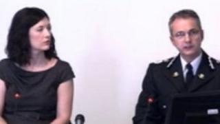 Peter Vaughan, chief constable, South Wales Police, and South Wales Police press officer Catherine Llewellyn