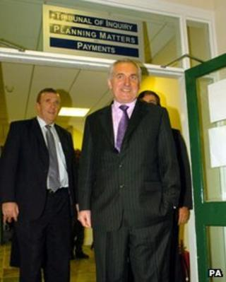 Bertie Ahern after giving evidence to the Mahon Tribunal