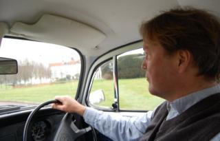 Jorn Madslien driving a Beetle