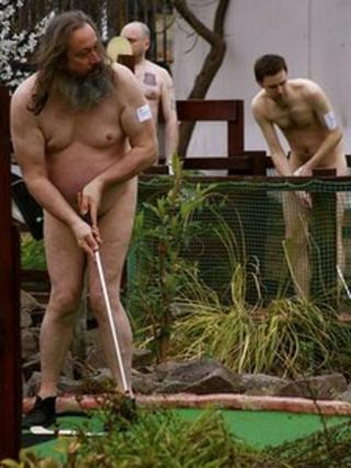 Naked golfers in Southend