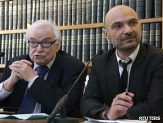 Henri Leclerc (L) and Richard Malka address reporters in Paris, 27 March