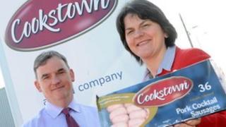 Enterprise Minister Arlene Foster, alongside Seamus Carr from Vion Foods