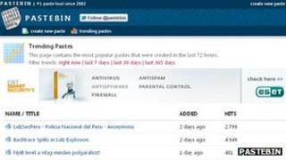 Pastebin screenshot