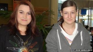 St John Ambulance Cadets Lorraine Murray and Kayleigh Carson